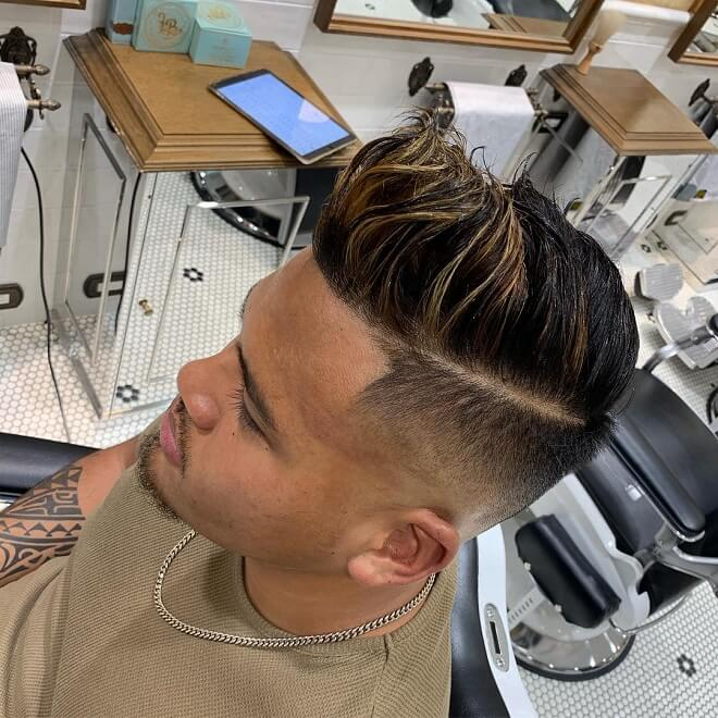 High Pompadour with Hard Part
