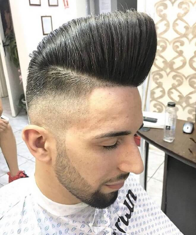 High Pompadour with Low Skin Fade