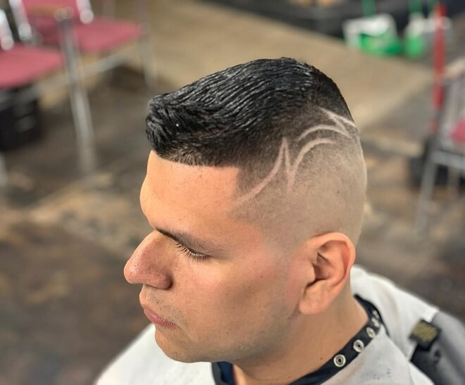 High Skin Fade with Line Design