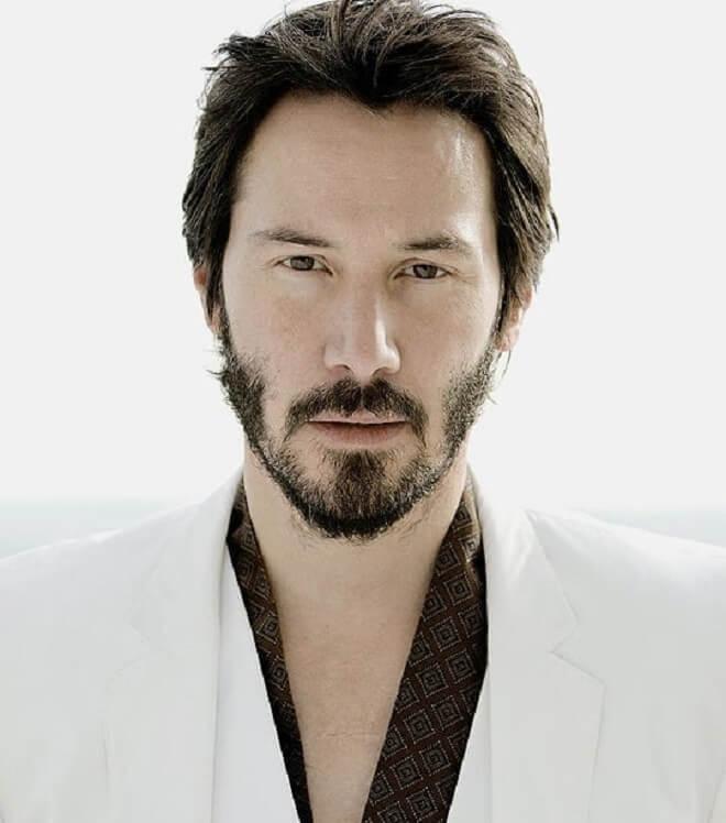 Keanu Reeves Beard Styles With Short Haircut