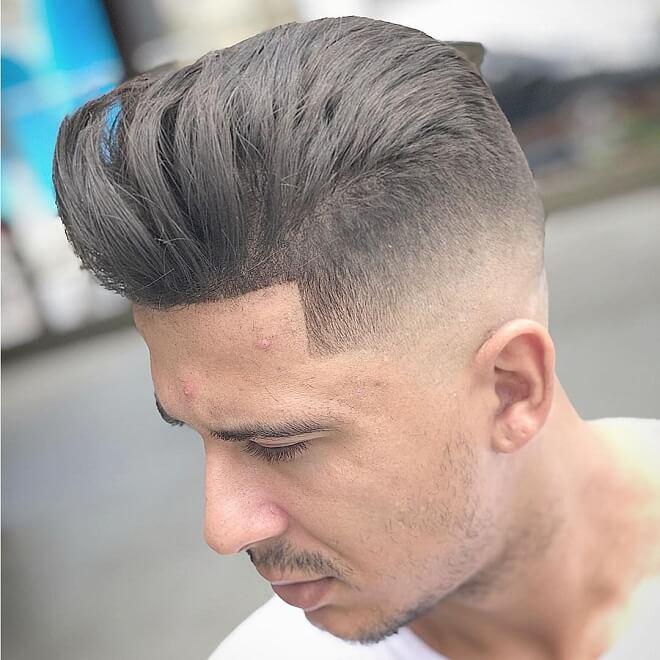 Line Haircut With Pompadour