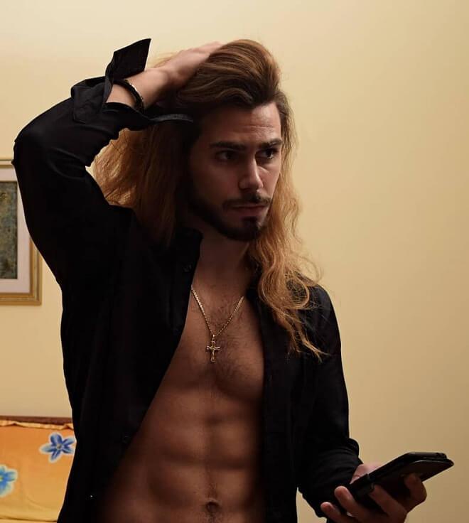 Long Blonde Hair with Strip Beard
