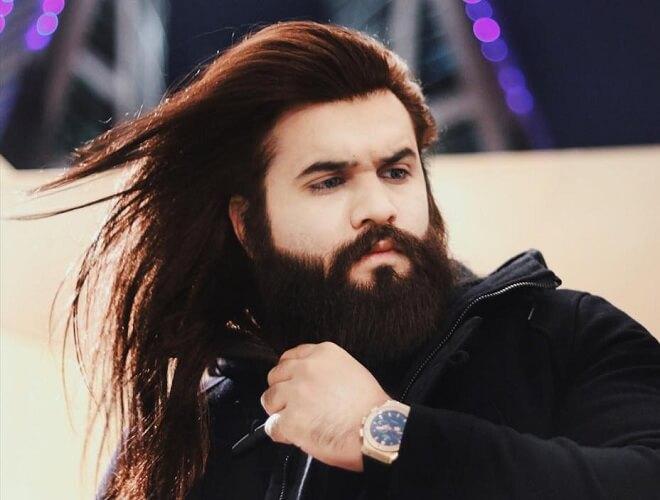 Long Hair and Full Beard Style