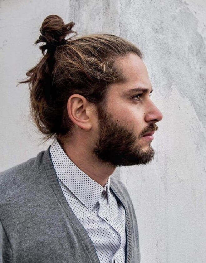 Loose Bun With Beard Style