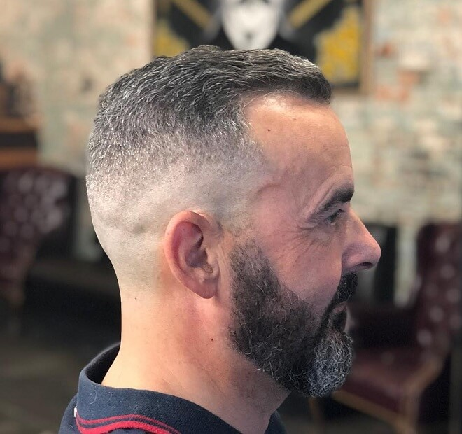 Low Bald Fade with Beard Style