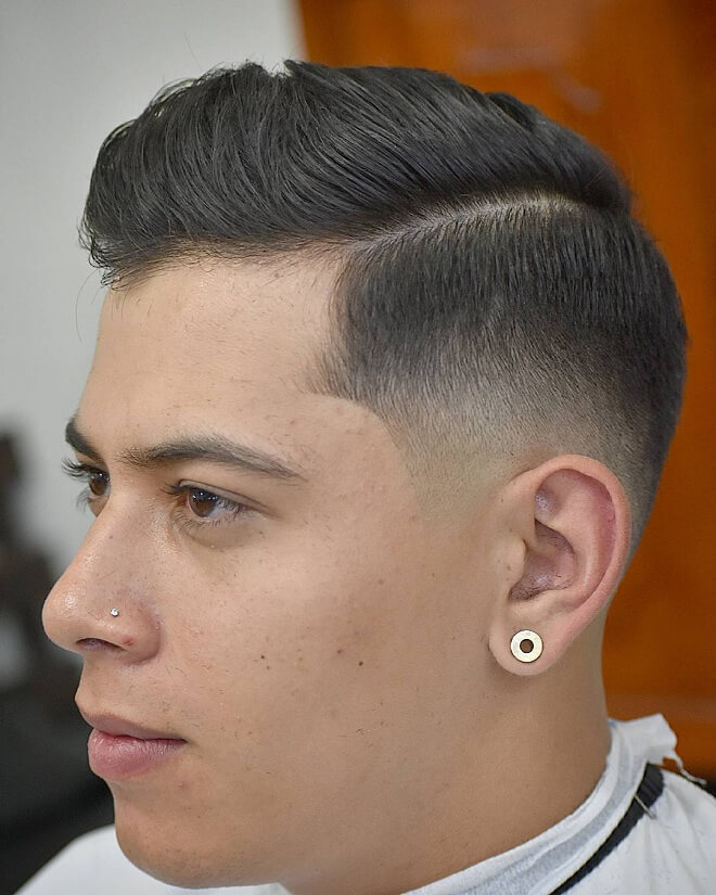 Low Fade Comb Over With Side Swept Hair
