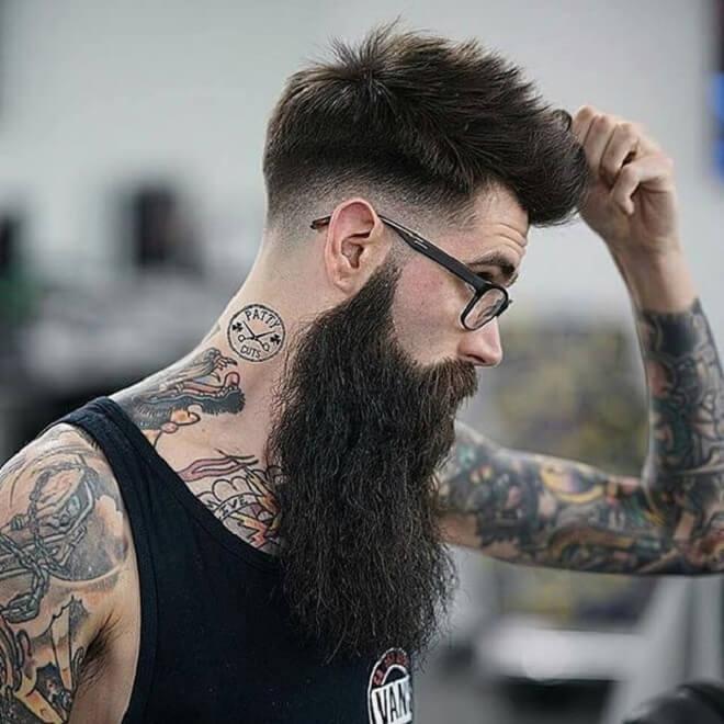 Low Fade Spiky Haircut with Long Beard