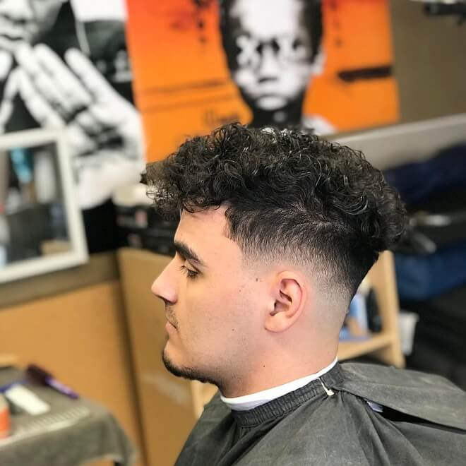 Low Taper Fade with Curly Hair