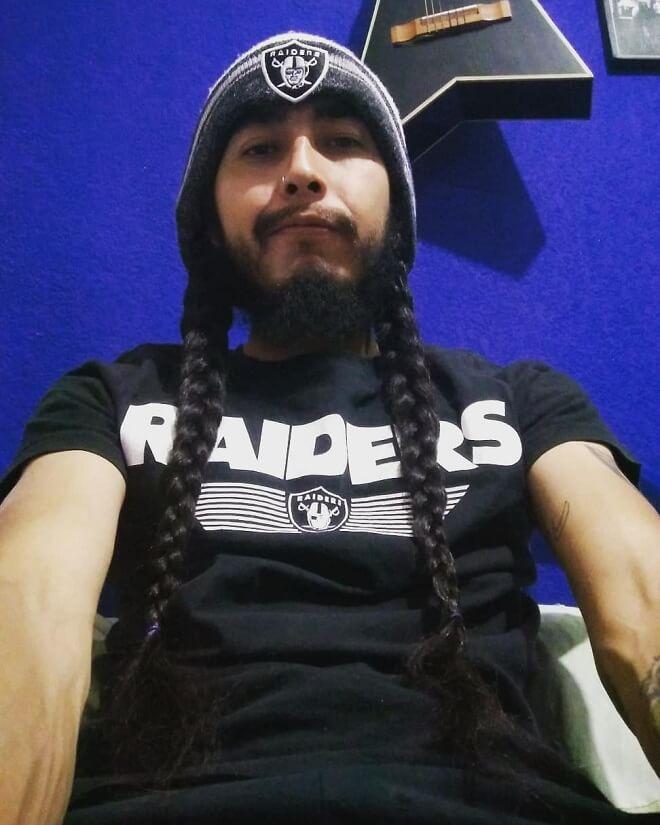 Man Long Hair Braid with Beard