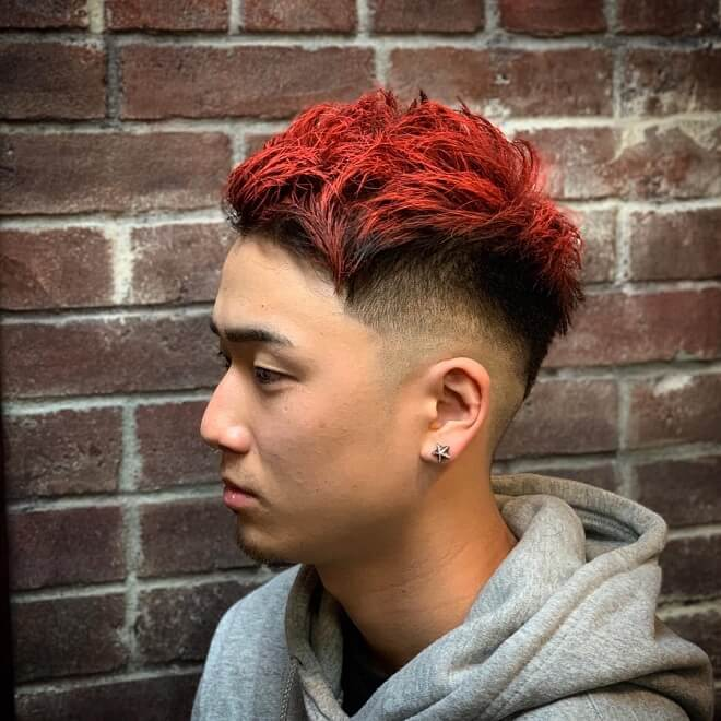 Medium Skin Fade with Red Hair