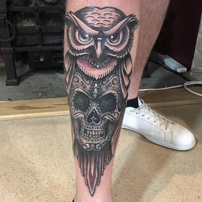 Owl Tattoo on Leg