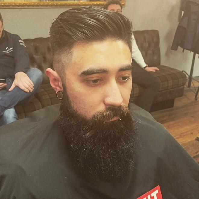 Pompadour Fade With Beard Style