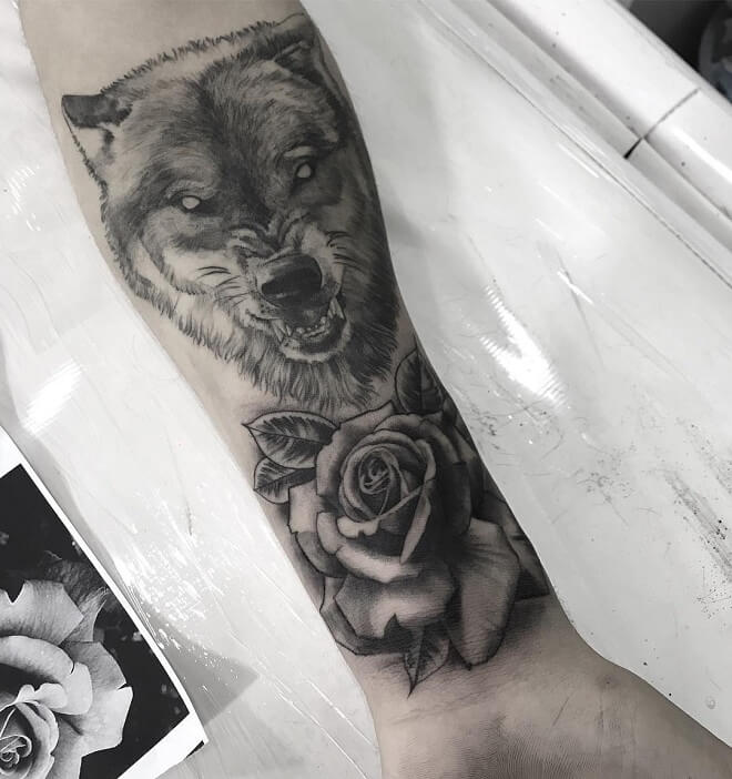 Rose With Wolf Tattoo