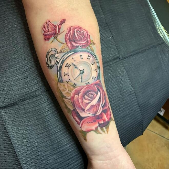 Rose with Compass Tattoo