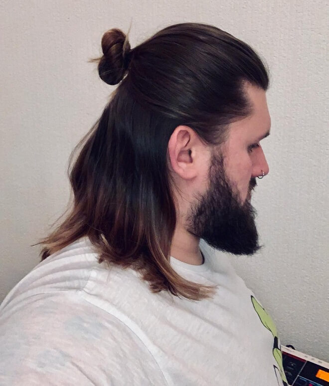 Samurai Bun With Beard Style