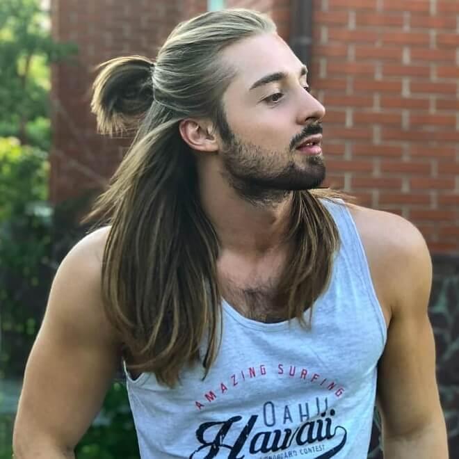 Samurai Half Bun with Long Hair