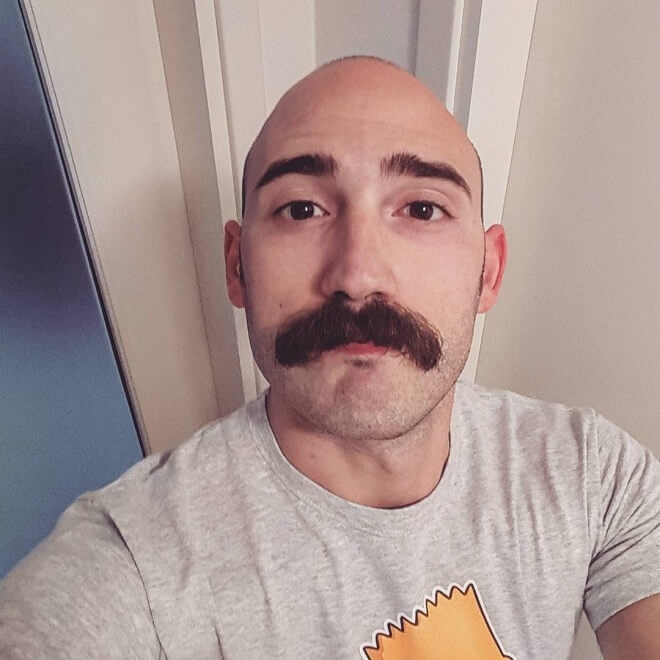 Short Mustache with Bald Head