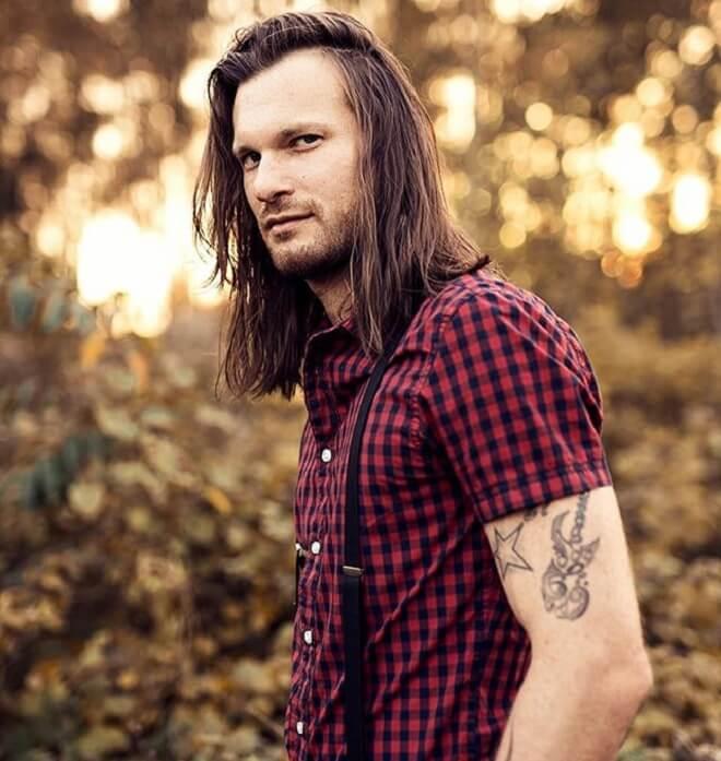 Shoulder Length Hair With Stubble Beard