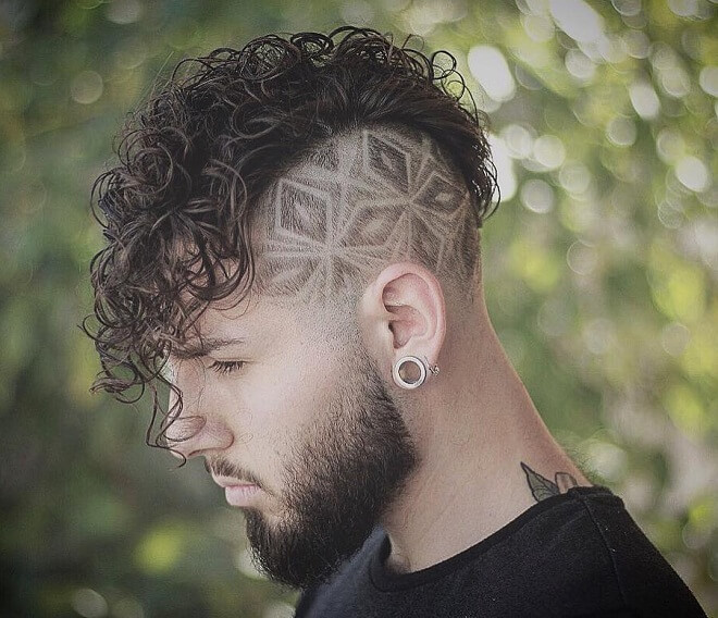 Side Part Design With Curly Fringe