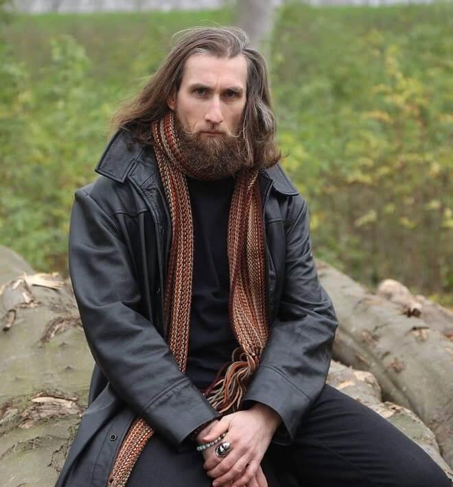 Side Swept Long Hair With Full Beard