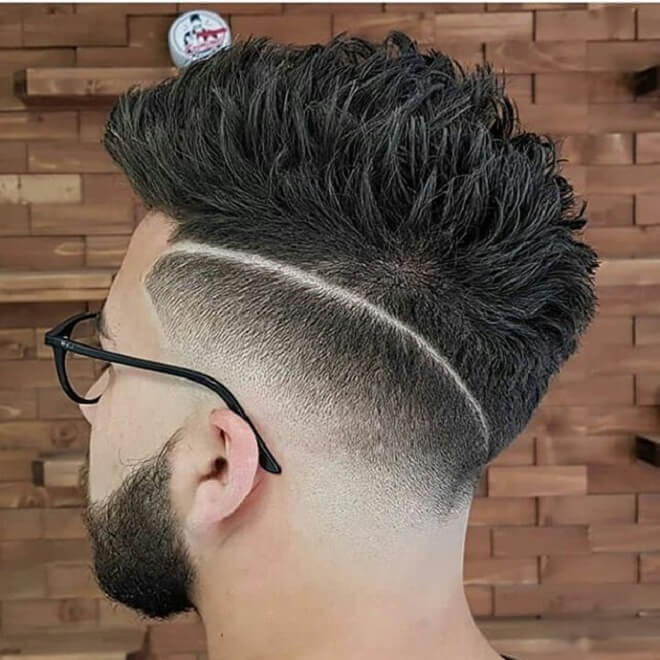 Spiky Haircut With Line Design