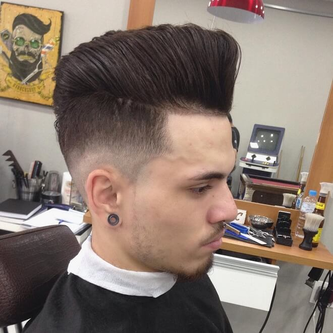 Straight Pompadour With Short Side