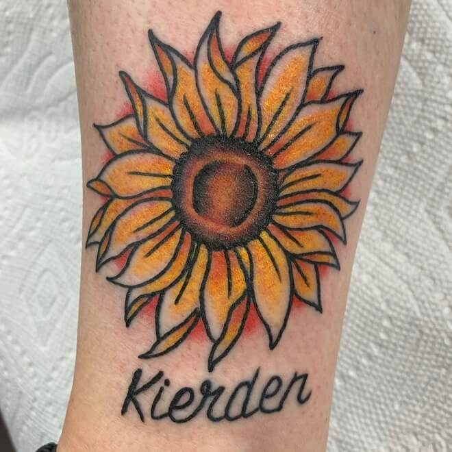 Sunflower With Name Tattoo