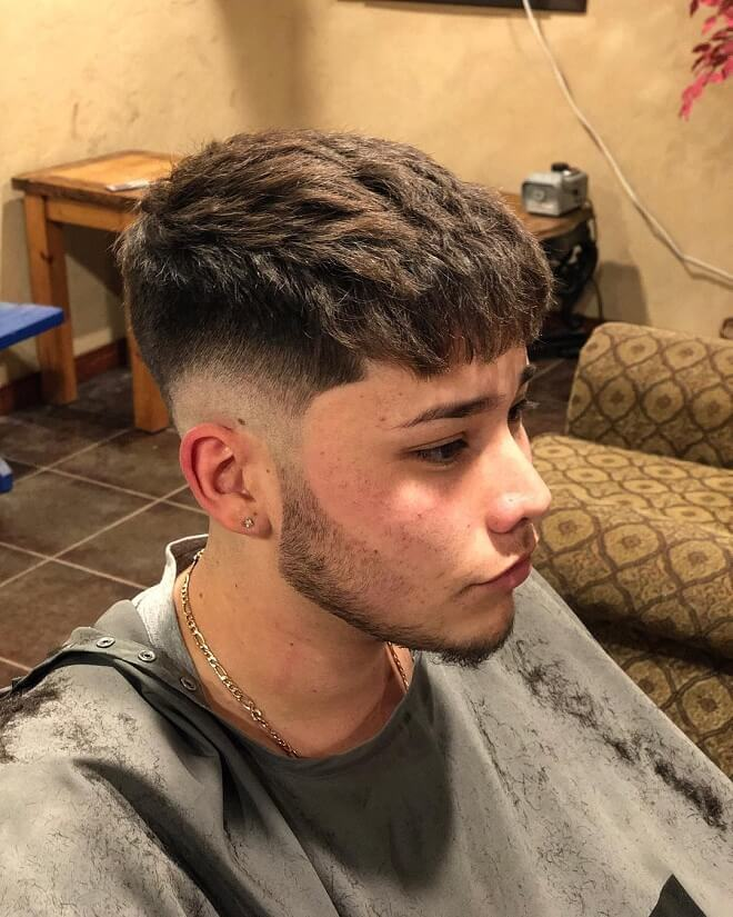 Textured Bangs with Low Skin Fade
