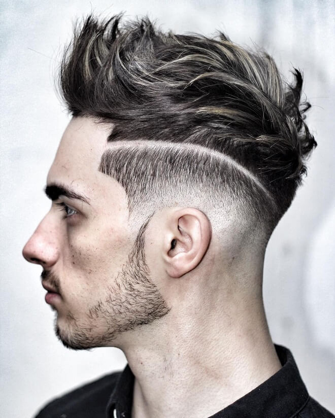 Textured Quiff with Low Skin Fade