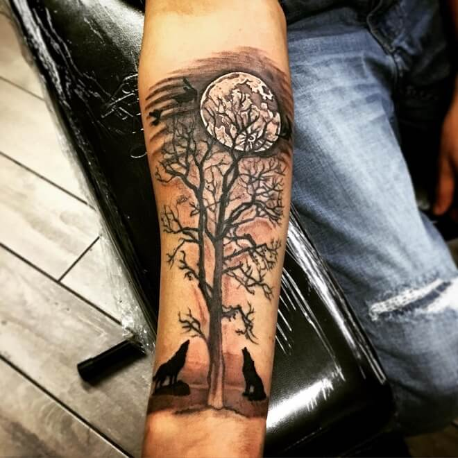 Tree and Moon Tattoo