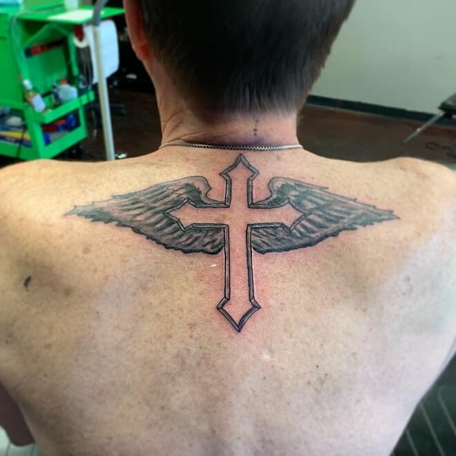Wing with Cross Tattoo