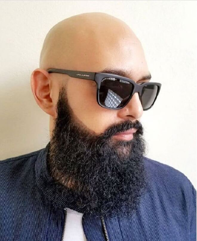 Bald Head with Long Beard