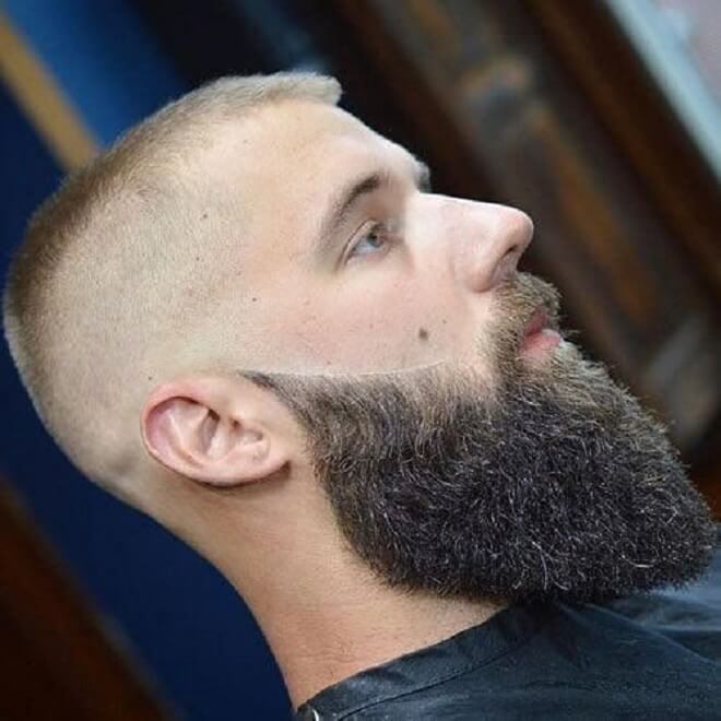 Buzz Cut with Long Beard Style