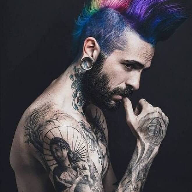 Color Mohawk Punk Rock Hairstyle