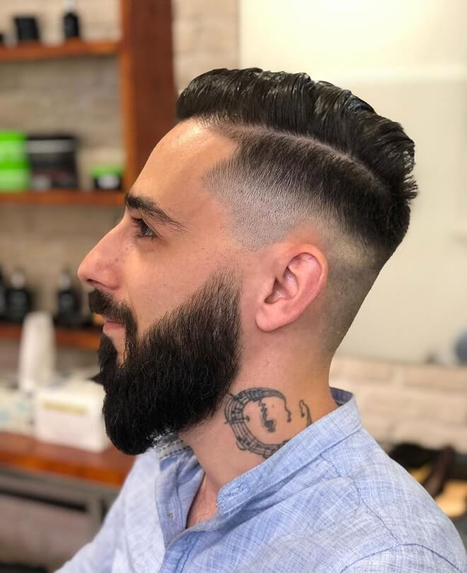 Comb Over Fade Haircut with Beard Style
