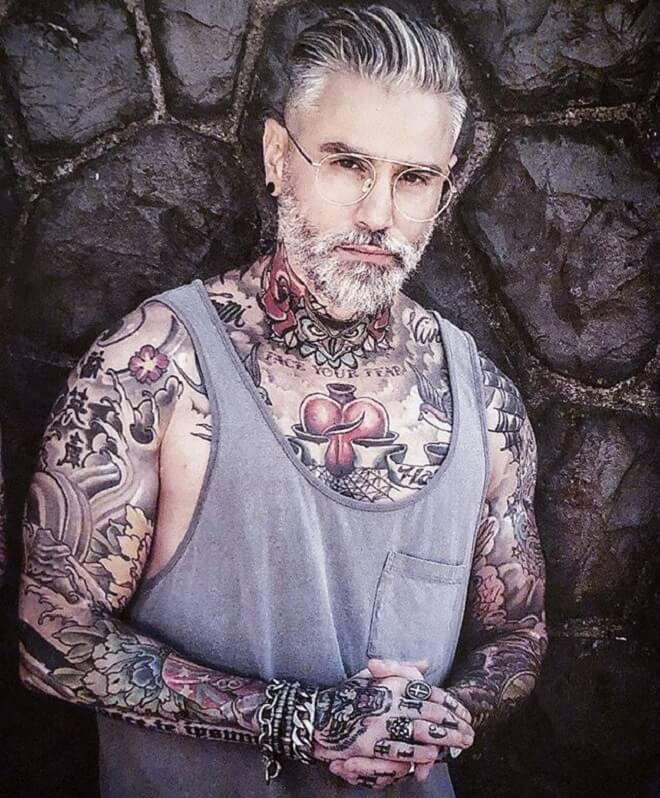 Grey Hair Men with Beard Style