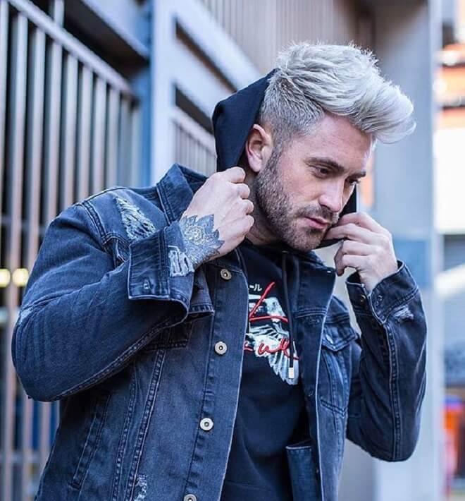 Grey Hair with Faux Hawk Haircut