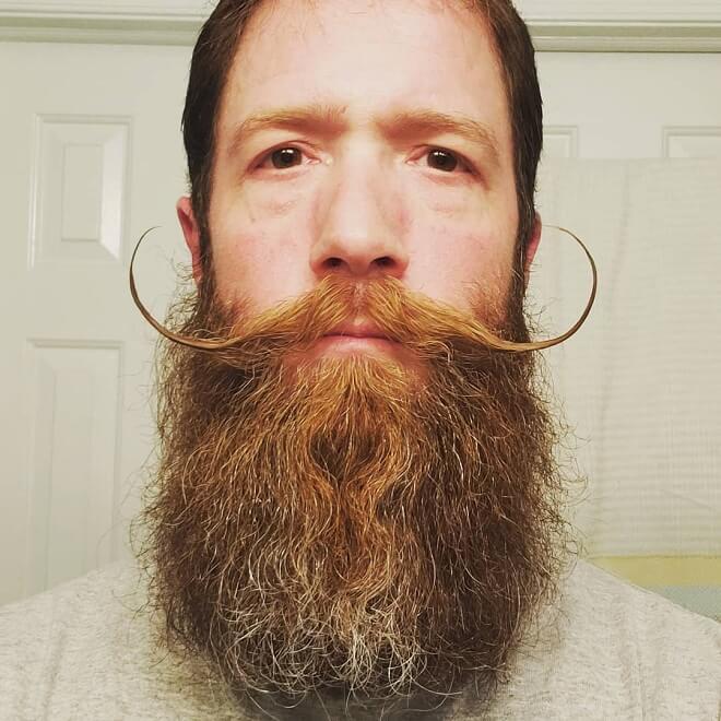 Handlebar Moustache with long Beard