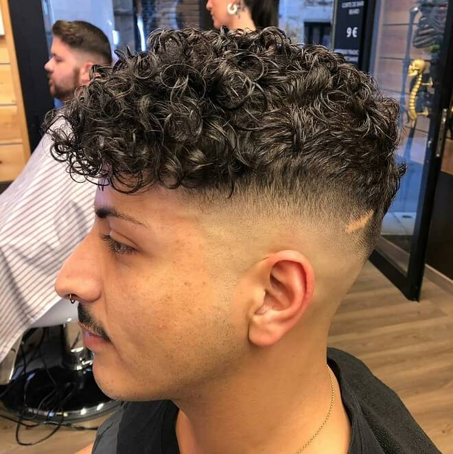 High Fade with Top Curly