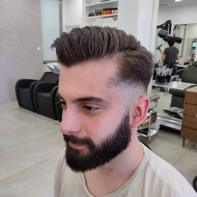 High Temp Fade Haircut with Full Stubble Beard