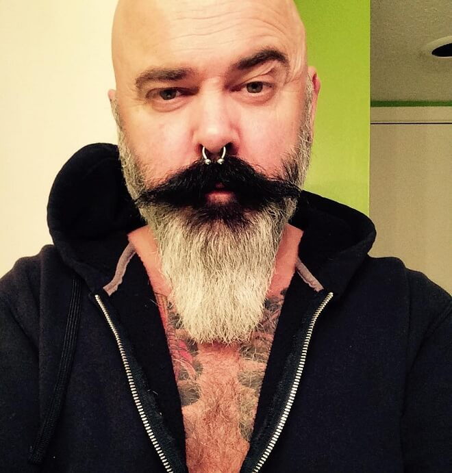 Long Mustache with Pointed Beard