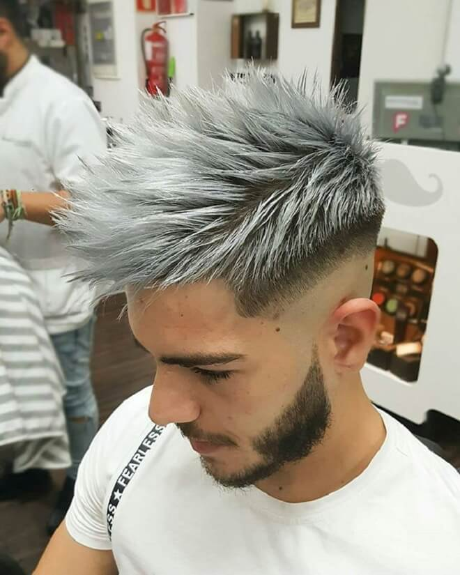 Low Bald Fade with Platinum Blonde Hair
