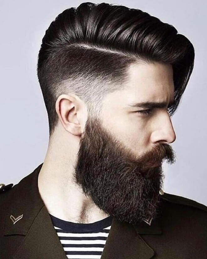 Low Fade Comb Over with Mid Length Hairstyle