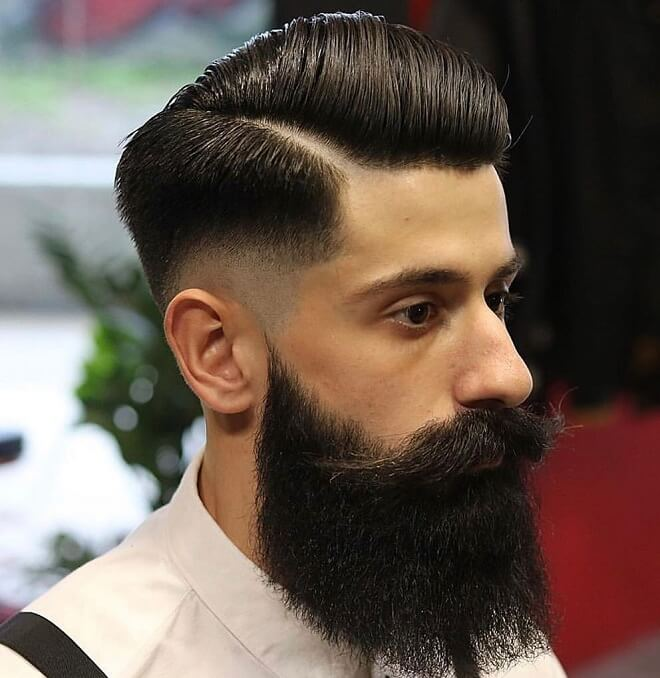 Low Skin Fade with Comb Over Pompadour