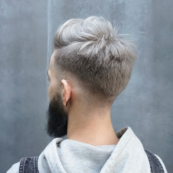 Low Skin Fade with Grey Hair