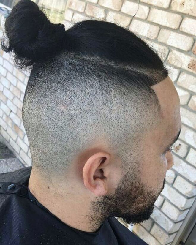 Man Bun with High Fade
