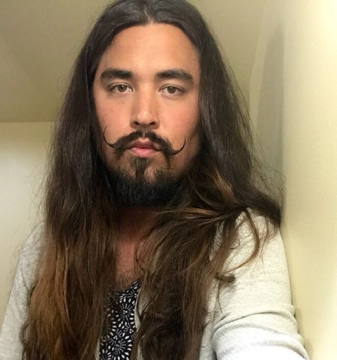 Man Long Hairstyles with Beard Style