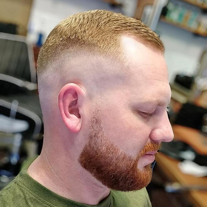 Mid Bald Fade Short Haircut with Beard Style