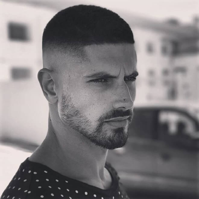 Mid Skin Fade with Short Haircut