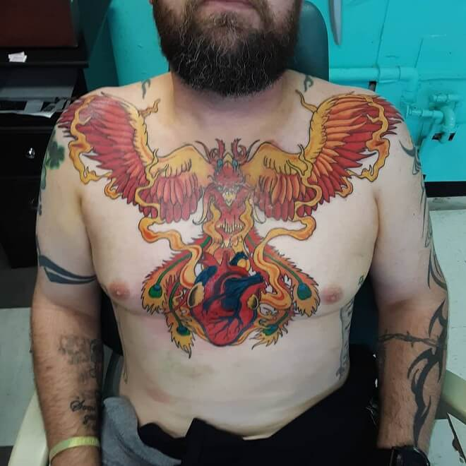 Phoenix Big Tattoo on Chest